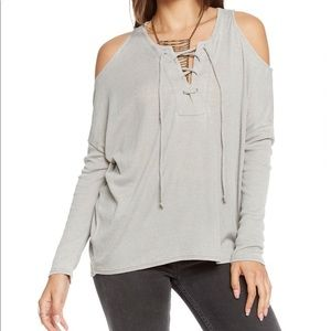 Chaser | Vintsge Rib Lace Front Dolman Top